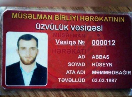 Abbas Hüseynin MBH-na üzvlük vəsiqəsinin fotosu yayıldı. (Foto)