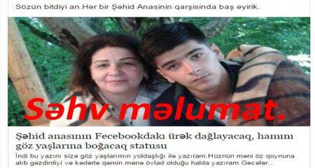 Şəhid anasının adı ilə yayılan yanlış məlumat - DİQQƏT.