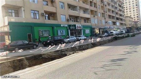 Təmirdən çıxan Badamdar yolu dağıldı, sakinlər narahatdır - FOTOLAR, VİDEO