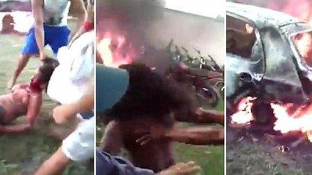 2 yaşlı uşağı öldürən qadını diri-diri yandırdılar - VİDEO (18+)
